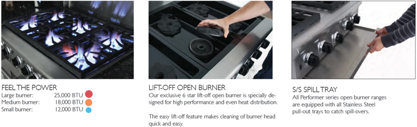 Performer series has restaurant range features like 25K BTU lift off open top burners and Stainless Steel drip tray